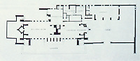 Frank Lloyd Wright:  Robie House, Oak Park IL, 1908. Plan of ground floor.