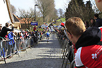 The peloton start the Koppenberg climb during the 96th edition of The Tour of Flanders 2012, running 256.9km from Bruges to Oudenaarde, Belgium. 1st April 2012. <br /> (Photo by Steven Franzoni/NEWSFILE).