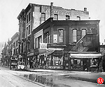 A view of businesses at the Scovill and South Main Streets intersection in Waterbury during the 1920s.