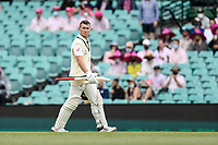 8th January 2021; Sydney Cricket Ground, Sydney, New South Wales, Australia; International Test Cricket, Third Test Day Two, Australia versus India; Marnus Labuschagne of Australia walks off the field having been caught and dismissed for 91