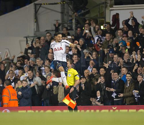 04.03.2015.  London, England. Barclays Premier League. Tottenham Hotspur versus Swansea City. Tottenham Hotspur's Nacer Chadli celebrates his early goal.
