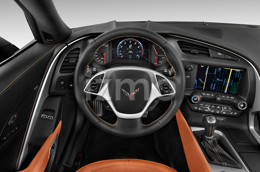 Car pictures of steering wheel view of a 2019 Chevrolet Corvette Stingray Convertible 2LT 2 Door Convertible