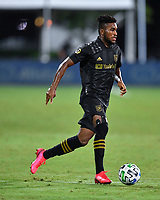 LAKE BUENA VISTA, FL - JULY 18: José Cifuentes #11 of LAFC dribbles the ball during a game between Los Angeles Galaxy and Los Angeles FC at ESPN Wide World of Sports on July 18, 2020 in Lake Buena Vista, Florida.
