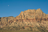 Moon over cliffs, Red Rock Canyon National Conservation Area, Nevada