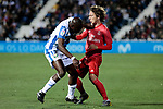 CD Leganes's Allan Romeo Nyom and Real Madrid's Luka Modric during La Liga match between CD Leganes and Real Madrid at Butarque Stadium in Leganes, Spain. April 15, 2019. (ALTERPHOTOS/A. Perez Meca)