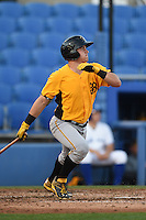 Bradenton Marauders catcher Reese McGuire (7) at bat during a game against the Dunedin Blue Jays on April 14, 2015 at Florida Auto Exchange Stadium in Dunedin, Florida.  Bradenton defeated Dunedin 7-1.  (Mike Janes/Four Seam Images)