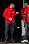 Real Madrid players Karim Benzema and Mesut Ozil participate and receive new Audi during the presentation of Real Madrid's new cars made by Audi at the Jarama racetrack on November 8, 2012 in Madrid, Spain.(ALTERPHOTOS/Harry S. Stamper)