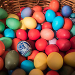 Paschal Divine Liturgy with the blessing of the eggs, St. Sava Serbian Orthodox Church, midnight in Jackson, Calif.<br /> <br /> Colorful Easter eggs