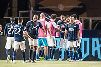FOXBOROUGH, MA - JULY 27:  Revolution players celebrate their 4th goal at Gillette Stadium on July 27, 2019 in Foxborough, Massachusetts.