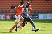 Blackpool's Jerry Yates vies for possession with Swindon Town's Anthony Grant<br /> <br /> Photographer Kevin Barnes/CameraSport<br /> <br /> The EFL Sky Bet League One - Blackpool v Swindon Town - Saturday 19th September 2020 - Bloomfield Road - Blackpool<br /> <br /> World Copyright © 2020 CameraSport. All rights reserved. 43 Linden Ave. Countesthorpe. Leicester. England. LE8 5PG - Tel: +44 (0) 116 277 4147 - admin@camerasport.com - www.camerasport.com