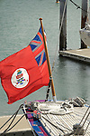 """Stern of J-Class Yacht """"Endeavor"""" with club flag."""