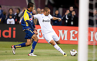 Karim Benzema kicks the ball. Real Madrid defeated Club America 3-2 at Candlestick Park in San Francisco, California on August 4th, 2010.