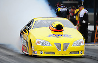 Sept. 16, 2011; Concord, NC, USA: NHRA pro stock  driver Rodger Brogdon during qualifying for the O'Reilly Auto Parts Nationals at zMax Dragway. Mandatory Credit: Mark J. Rebilas-US PRESSWIRE