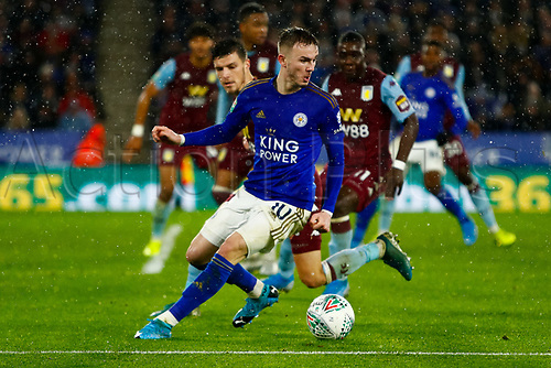 8th January 2020; King Power Stadium, Leicester, Midlands, England; English Football League Cup Football, Carabao Cup, Leicester City versus Aston Villa; James Maddison of Leicester City attempts to beat Frederic Guilbert of Aston Villa - Strictly Editorial Use Only. No use with unauthorized audio, video, data, fixture lists, club/league logos or 'live' services. Online in-match use limited to 120 images, no video emulation. No use in betting, games or single club/league/player publications