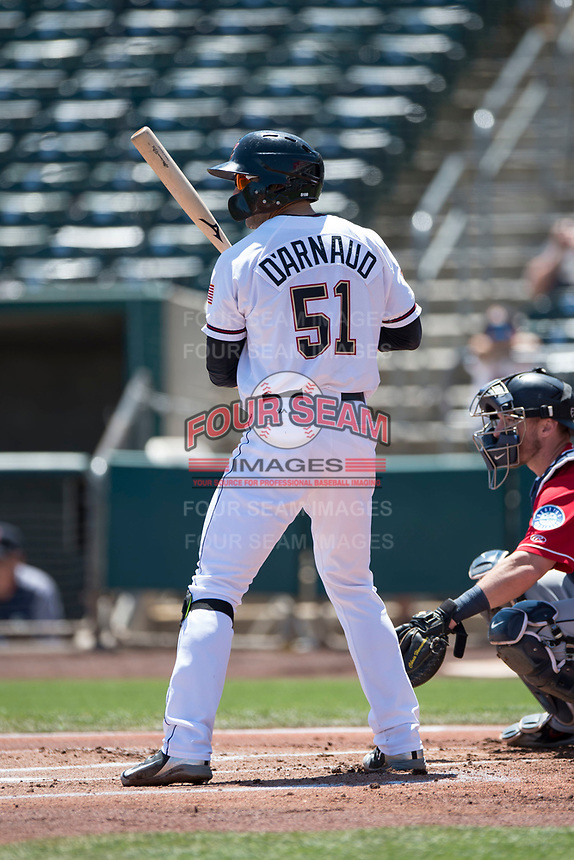 Sacramento RiverCats second baseman Chase D'Arnaud (51) at bat during a Pacific Coast League against the Tacoma Rainiers at Raley Field on May 15, 2018 in Sacramento, California. Tacoma defeated Sacramento 8-5. (Zachary Lucy/Four Seam Images)