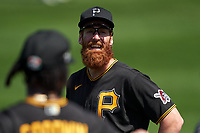 Pittsburgh Pirates Colin Moran (19) during warmups before a Major League Spring Training game against the Minnesota Twins on March 16, 2021 at Hammond Stadium in Fort Myers, Florida.  (Mike Janes/Four Seam Images)