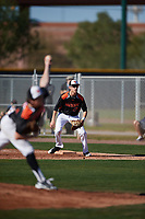 Adrese Azzani (13) of Miramonte High School in Orinda, California during the Baseball Factory All-America Pre-Season Tournament, powered by Under Armour, on January 13, 2018 at Sloan Park Complex in Mesa, Arizona.  (Mike Janes/Four Seam Images)