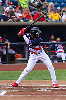 Quad Cities River Bandits outfielder Bryan De La Cruz (16) at bat during a Midwest League game against the Peoria Chiefs on May 27, 2018 at Modern Woodmen Park in Davenport, Iowa. Quad Cities defeated Peoria 8-3. (Brad Krause/Four Seam Images)