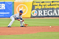 Pensacola Blue Wahoos second baseman Shed Long (4) fields the ball during a game against the Tennessee Smokies at Smokies Stadium on August 30, 2018 in Kodak, Tennessee. The Blue Wahoos defeated the Smokies 5-1. (Tony Farlow/Four Seam Images)