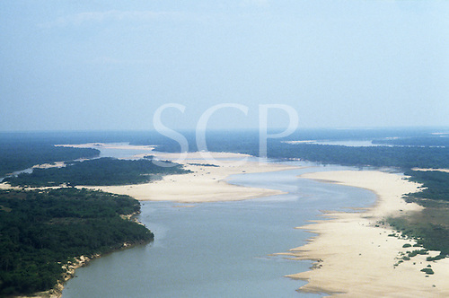 Araguaia River, Brazil. Low water showing sediment deposition on the bends of the meandering river.