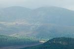 Forest covered mountains, Scottish Highlands, Cairngorms National Park, Scotland, United Kingdom
