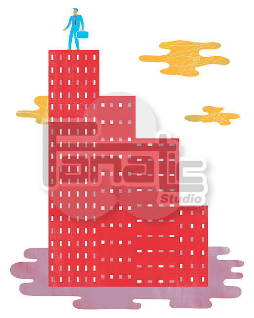 Illustrative image of businessman on graph shaped building representing growth