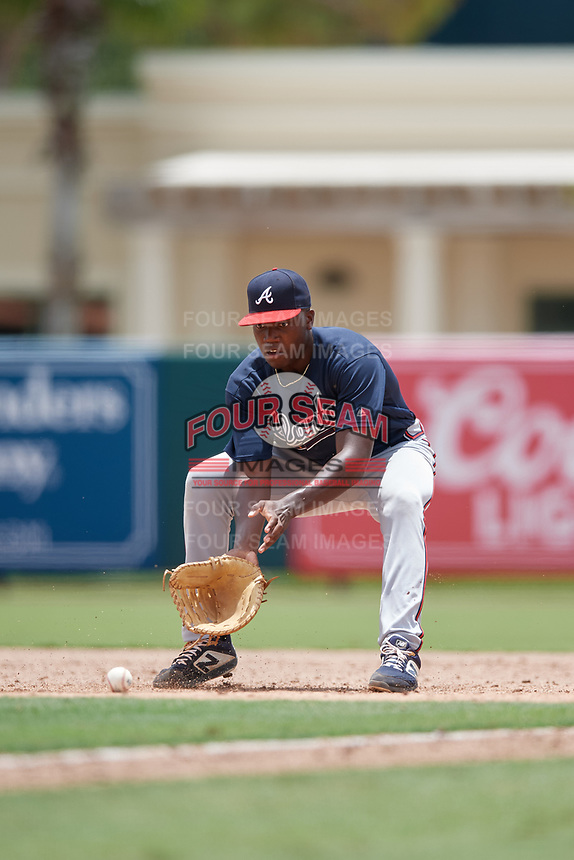 GCL Braves first baseman Mahki Backstrom (40) fields a ground ball during a Gulf Coast League game against the GCL Orioles on August 5, 2019 at Ed Smith Stadium in Sarasota, Florida.  GCL Orioles defeated the GCL Braves 4-3 in the second game of a doubleheader.  (Mike Janes/Four Seam Images)