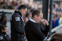 Newport County manager Warren Feeney takes a drink during the Sky Bet League 2 match between Newport County and Notts County at Rodney Parade, Newport, Wales on 30 April 2016. Photo by Mark  Hawkins / PRiME Media Images.