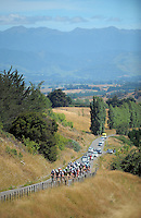 The peleton approaches the top of Millar's Road during stage three of the NZ Cycle Classic UCI Oceania Tour in Wairarapa, New Zealand on Tuesday, 24 January 2017. Photo: Dave Lintott / lintottphoto.co.nz