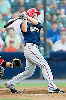 Bryce Harper #34 of the Harrisburg Senators follows through on his swing against the Richmond Flying Squirrels in game one of a double-header at The Diamond on July 22, 2011 in Richmond, Virginia.  The Squirrels defeated the Senators 3-1.   (Brian Westerholt / Four Seam Images)