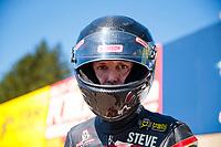 Sep 15, 2019; Mohnton, PA, USA; NHRA pro stock motorcycle rider Steve Johnson during the Reading Nationals at Maple Grove Raceway. Mandatory Credit: Mark J. Rebilas-USA TODAY Sports
