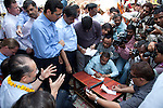 12 March 2013, Kanpur, Uttar Pradesh India: The local press listen to  the President of the World Bank, Mr Jim Yong Kim during his tour of the low income suburb of Gwaltoli  on his visit to Kanpur in Uttar Pradesh state, India. Mr.Kim is visiting India  for meetings with local staff, Indian Government Ministers and to inspect projects sponsored by World Bank in regional areas. Picture by Graham Crouch/World Bank