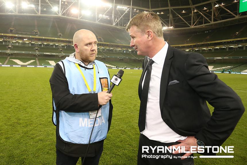 Dundalk Sport's Gavin McLaughlin interviews Stephen Kenny at the end of the Irish Daily Mail FAI Cup Final between Dundalk and Cork City, on Sunday 4th November 2018, at the Aviva Stadium, Dublin. Mandatory Credit: Michael P Ryan.