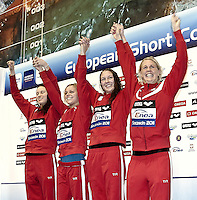 Szczecin Poland - Stettino Polonia POL  .Dec.8 - 12 2011 .European Swimming Short Course Championships.Swimming Nuoto -Day 02 Final.4x50 Freestyle Women.Denmark Silver Medal.G.Scala/Watering Photo/Deepbluemedia.eu..