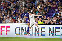 Orlando, FL - Saturday March 24, 2018: Orlando Pride defender Carson Pickett (16) and Utah Royals midfielder Diana Matheson (10) battle for a header during a regular season National Women's Soccer League (NWSL) match between the Orlando Pride and the Utah Royals FC at Orlando City Stadium. The game ended in a 1-1 draw.