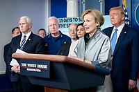 President Donald J. Trump listens as White House Coronavirus Response Coordinator Dr. Deborah Birx delivers remarks during a coronavirus update briefing Monday, March 16, 2020, in the James S. Brady Press Briefing Room of the White House.<br /> <br /> People: Dr. Deborah Birx