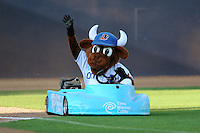 Durham Bulls mascot Wool E Bull cruises into the stadium before  a game against the Empire State Yankees at Durham Bulls Athletic Park on June 8, 2012 in Durham, North Carolina . The Yankees defeated the Bulls 3-1. (Tony Farlow/Four Seam Images).