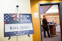 Justin Constantine, senior advisor to the US Chamber of Commerce Foundation and a member of the board of directors of the Wounded Warrior Project, speaks to employers about the importance of hiring military veterans at the Recovering Warrior Employment Conference at the Back Bay Event Center in Boston, Massachusetts, USA. The employment conference was organized by Hiring Our Heroes and Wounded Warrior Project. Hiring Our Heroes is an initiative of the US Chamber of Commerce Foundation. Approximately 40 veterans registered for the event, during which they had interviews with a number of different regional and national employers, including GE, Bank of America, Uber, and others.