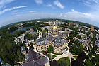Main Building as seen from the top of the Basilica..Photo by Matt Cashore/University of Notre Dame