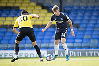 Charlie Kelman, Southend United, finds no way past Connor Hall, Harrogate Town,  during Southend United vs Harrogate Town, Sky Bet EFL League 2 Football at Roots Hall on 12th September 2020
