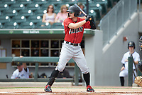 Austin Meadows (24) of the Indianapolis Indians at bat against the Charlotte Knights at BB&T BallPark on August 22, 2018 in Charlotte, North Carolina.  The Indians defeated the Knights 6-4 in 11 innings.  (Brian Westerholt/Four Seam Images)