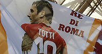 Calcio, Serie A: Roma, stadio Olimpico, 28 maggio 2017.<br /> A banner featuring Roma's Francesco Totti before the start the Italian Serie A football match between AS Roma and Genoa at Rome's Olympic stadium, May 28, 2017.<br /> Francesco Totti's final match with Roma after a 25-season career with his hometown club.<br /> UPDATE IMAGES PRESS/Isabella Bonotto