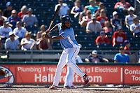 Hector Gomez (9) of the Lehigh Valley Iron Pigs at bat against the Durham Bulls at Coca-Cola Park on July 30, 2017 in Allentown, Pennsylvania.  The Bulls defeated the IronPigs 8-2.  (Brian Westerholt/Four Seam Images)