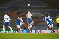 29th October 2020, Ibrox Stadium, Glasgow, Scotland; UEFA Europa League football, group stages; Glasgow Rangers versus Lech Poznan; Jakub Piotr Moder of Lech wins the header