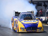 Sept. 15, 2012; Concord, NC, USA: NHRA funny car driver Ron Capps during qualifying for the O'Reilly Auto Parts Nationals at zMax Dragway. Mandatory Credit: Mark J. Rebilas-