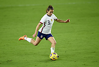 ORLANDO, FL - JANUARY 18: Kelley O'Hara #5 of the United States takes a shot during a game between Colombia and USWNT at Exploria Stadium on January 18, 2021 in Orlando, Florida.