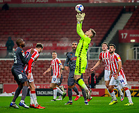 29th December 2020; Bet365 Stadium, Stoke, Staffordshire, England; English Football League Championship Football, Stoke City versus Nottingham Forest; Goalkeeper Josef Bursik of Stoke City makes a save from a cross into the box