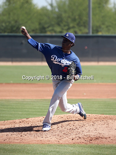 Adalberto Pena - Los Angeles Dodgers 2018 extended spring training (Bill Mitchell)