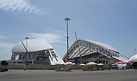13.07.2015. Sochi, Russia. Exterior view the Fisht stadium, former Olympic stadium, and future stadium for the FIFA soccer world cup in the Olympic park in Sochi, Russia, 13 July 2015. In 2018 the matches of the soccer world cup will take place in the stadium.