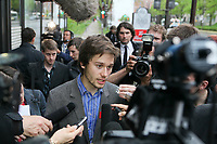 FECQ spokesperson Leo Bureau-Blouin speaks to medias before meeting with Quebec government in Quebec City Tuesday May 15, 2012.<br /> <br /> PHOTO :  Francis Vachon - Agence Quebec Presse